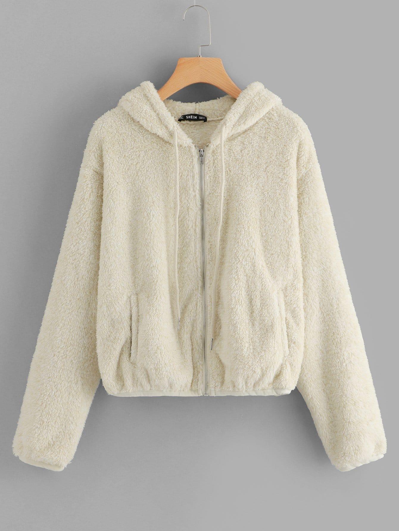 Zip Up Fuzzy Hoodie Teddy Jacket Sheinsheinside Tendencies Sweater Hoody Green Zipper Olive S