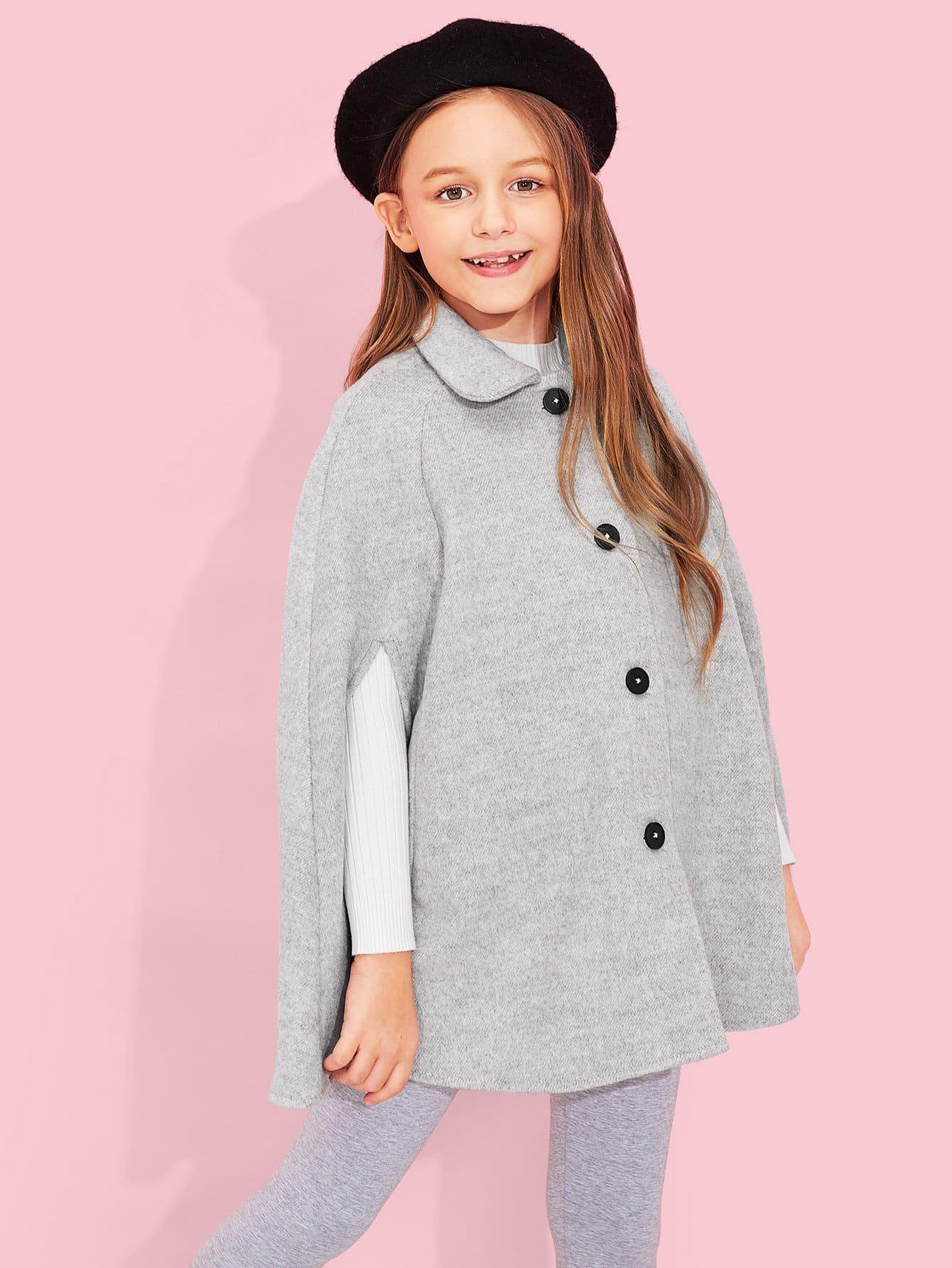 Купить Простая ветровка с украшением пуговицы и кармана для девочки, Sashab, SheIn