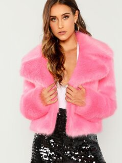 Neon Pink Exaggerate Notch Collar Faux Fur Coat