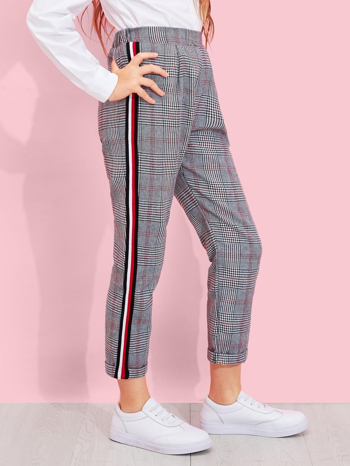 Купить Для девочек клетчатые брюки в полоску сбоку, Sashab, SheIn