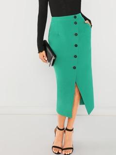 Slant Pocket Button Skirt