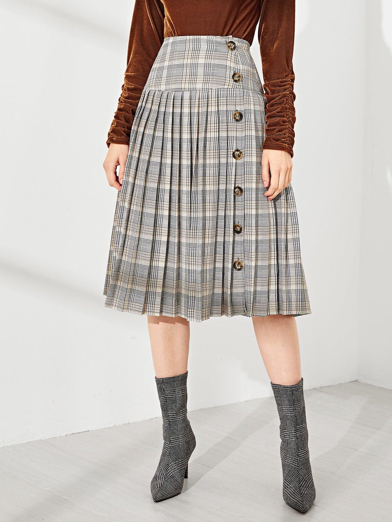 Купить Плиссированная юбка в клетку, Victoriab, SheIn