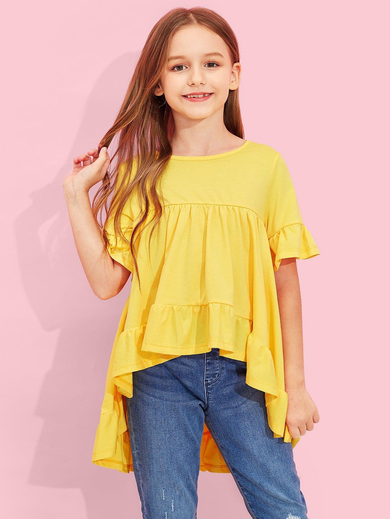 Купить Для девочек блузка с оборкой отделкой, Sashab, SheIn