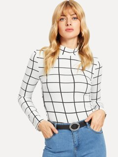Mock Neck Grid Fitted T-shirt