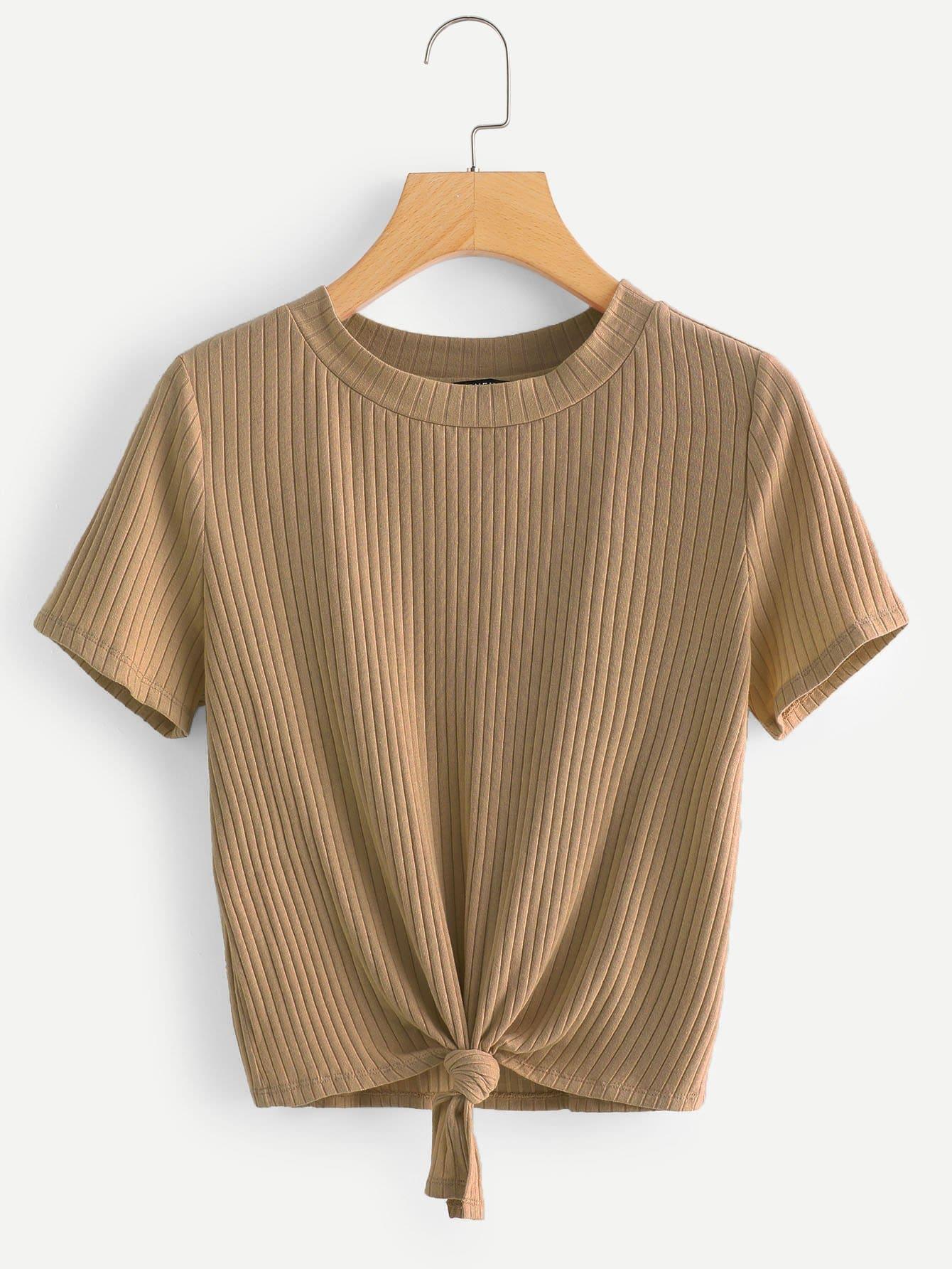 Купить Простая футболка с рельефными узорами и бантом, null, SheIn