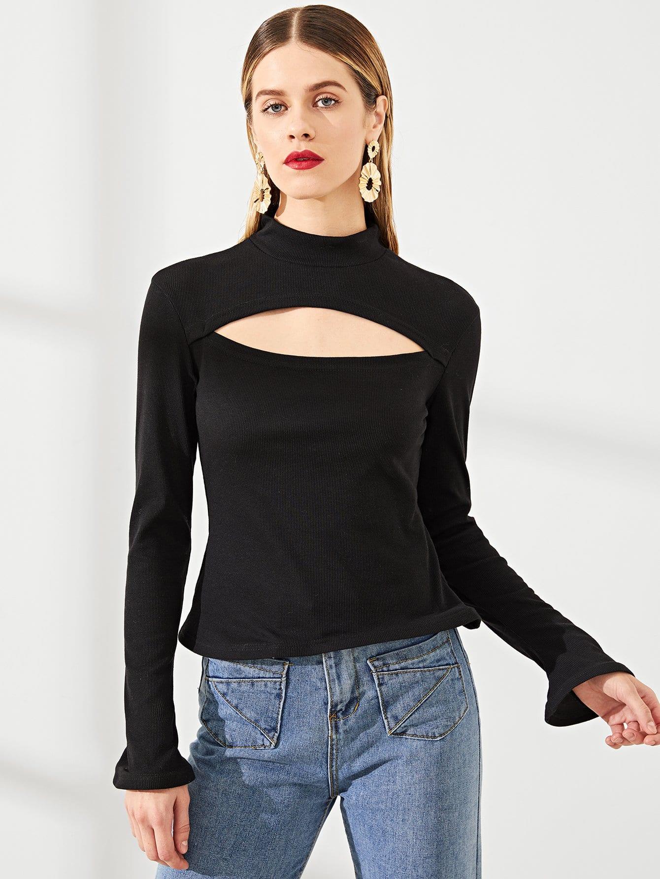 Купить Открытой передней футболка с ложным воротником, Victoriab, SheIn