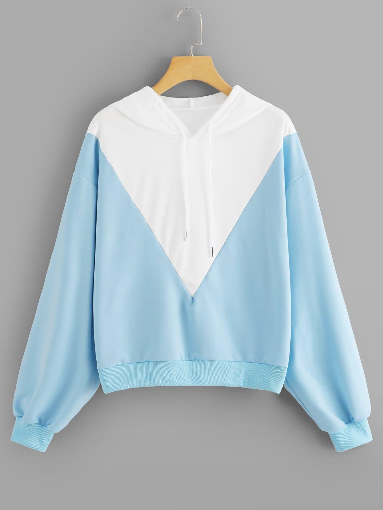 Купить Повседневный Контрастный цвет Пуловеры Синий Свитшоты, null, SheIn