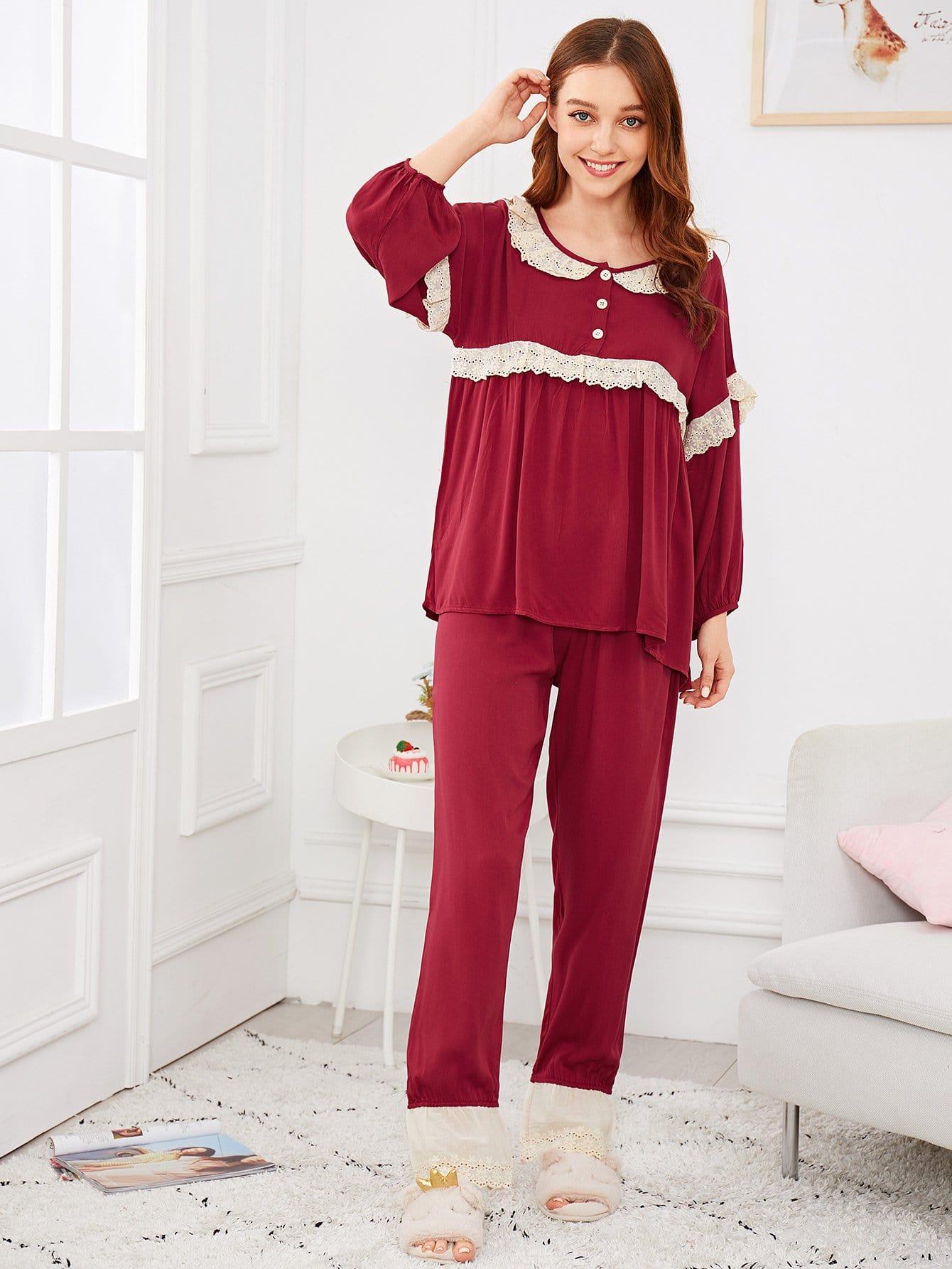 Купить Комплект пижамы с кружевными оборками и с рукавами фонаря, Poly, SheIn