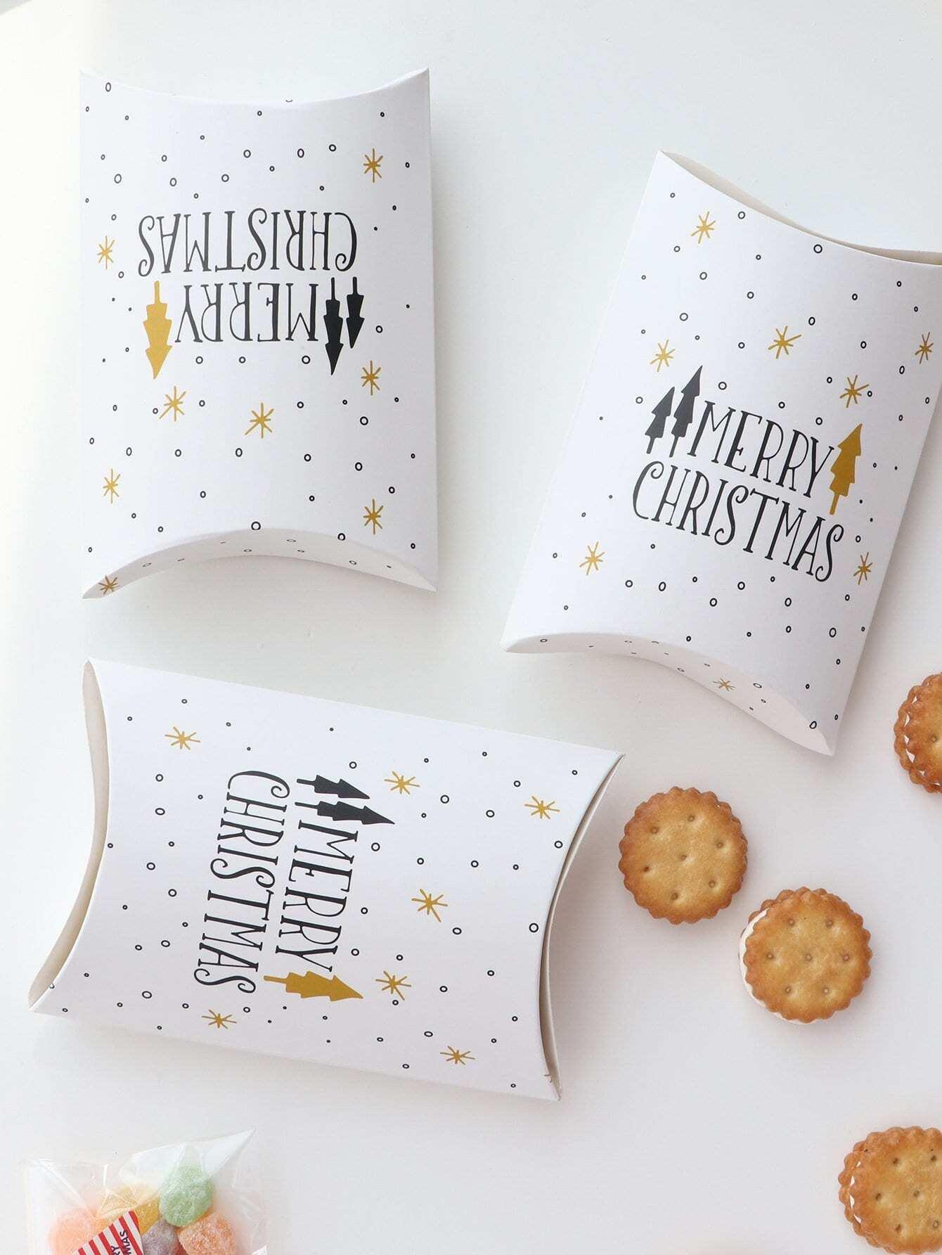 Купить Коробка для подушки с принтом рождественских лозунгов 10 шт, null, SheIn