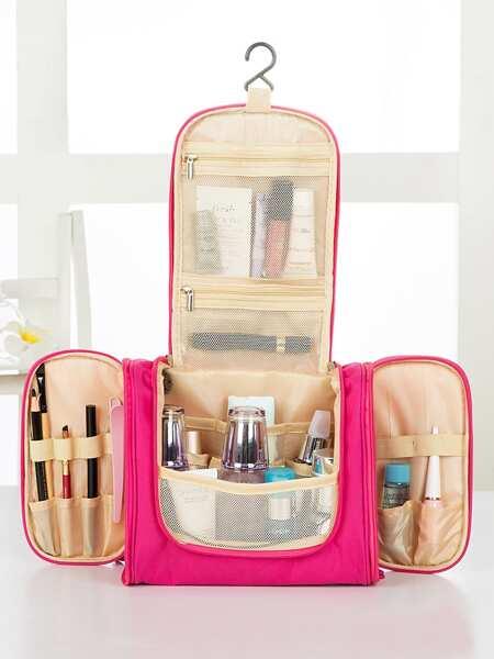 Neon Pink Waterproof Hook Cosmetic Storage Bag