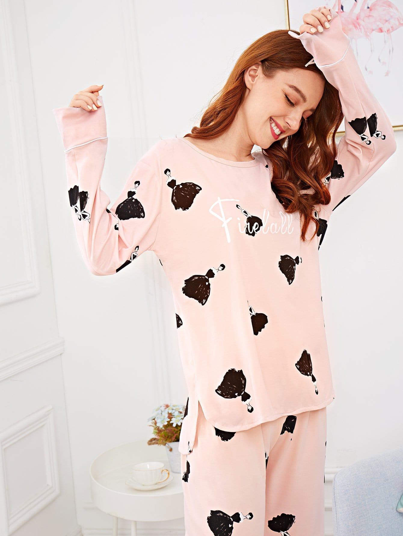 Купить Комплект пижамы с рисунками девушки и буквы, Poly, SheIn