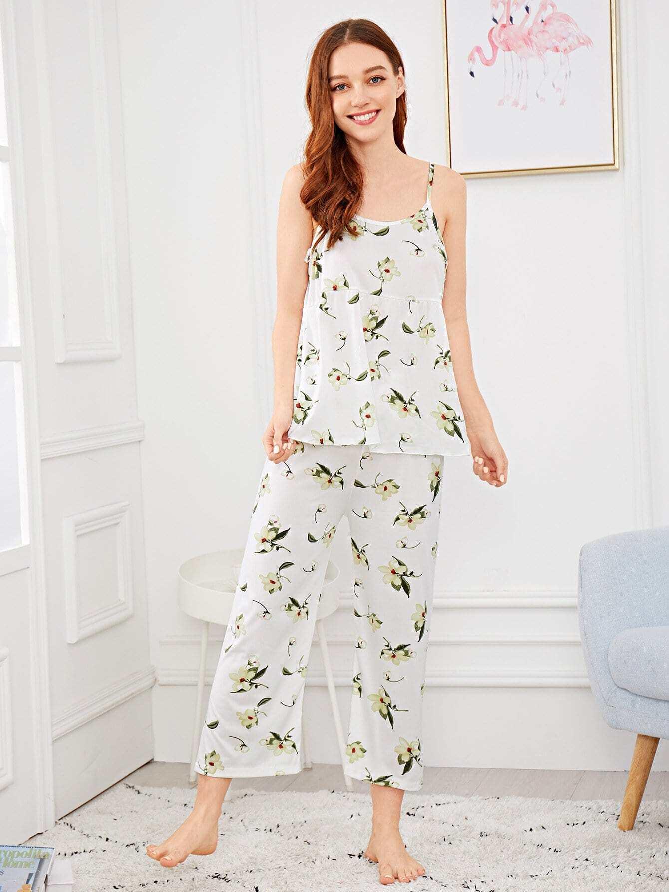 Купить Комплект ситцевой пижамы на бретелях, Poly, SheIn