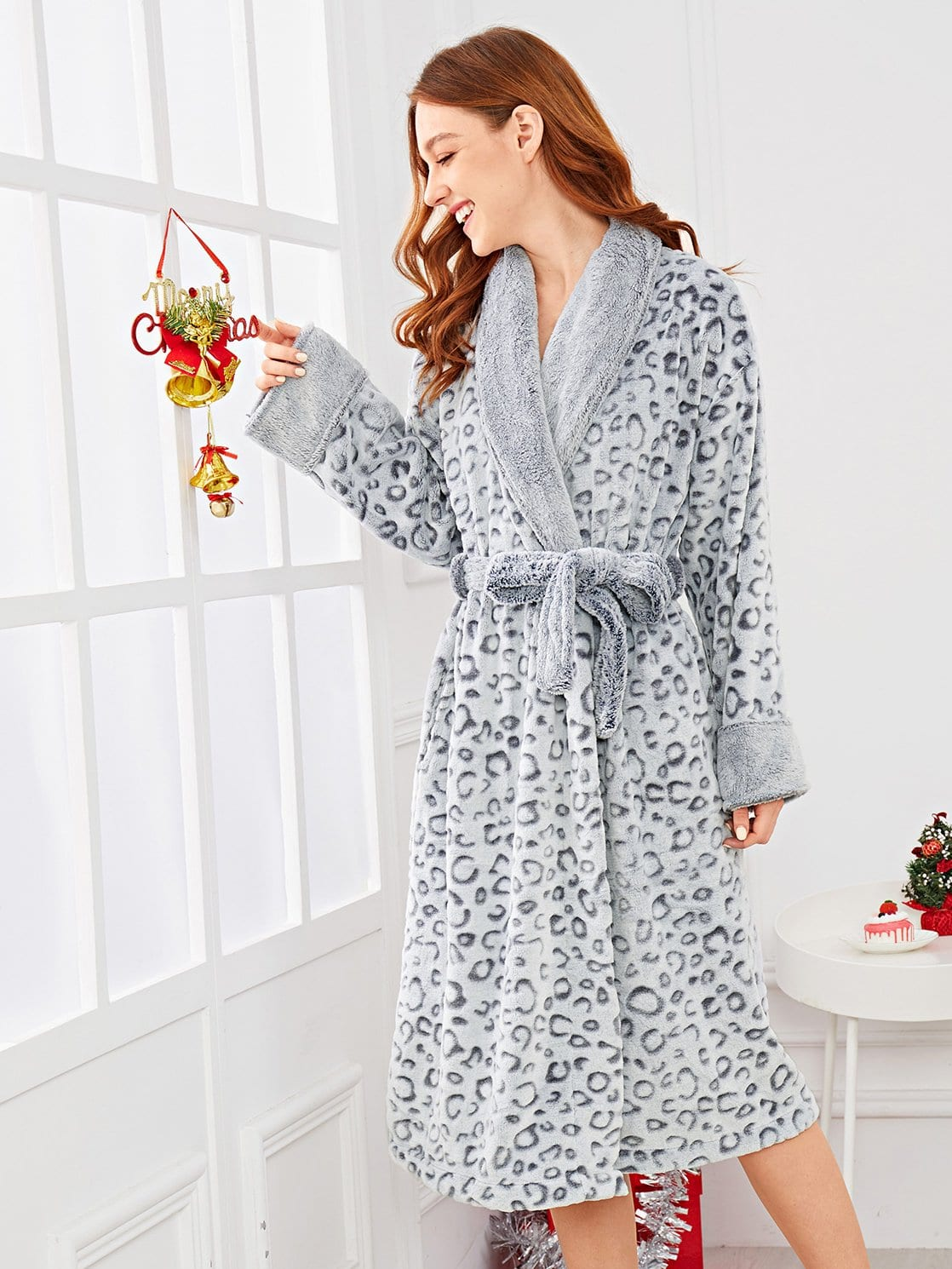 Купить Леопардовый домашний халат с поясом, Poly, SheIn