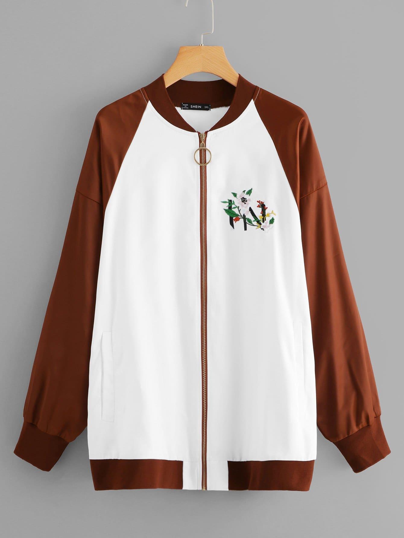 Купить Плюс размеры цветочные вышивки куртка, null, SheIn