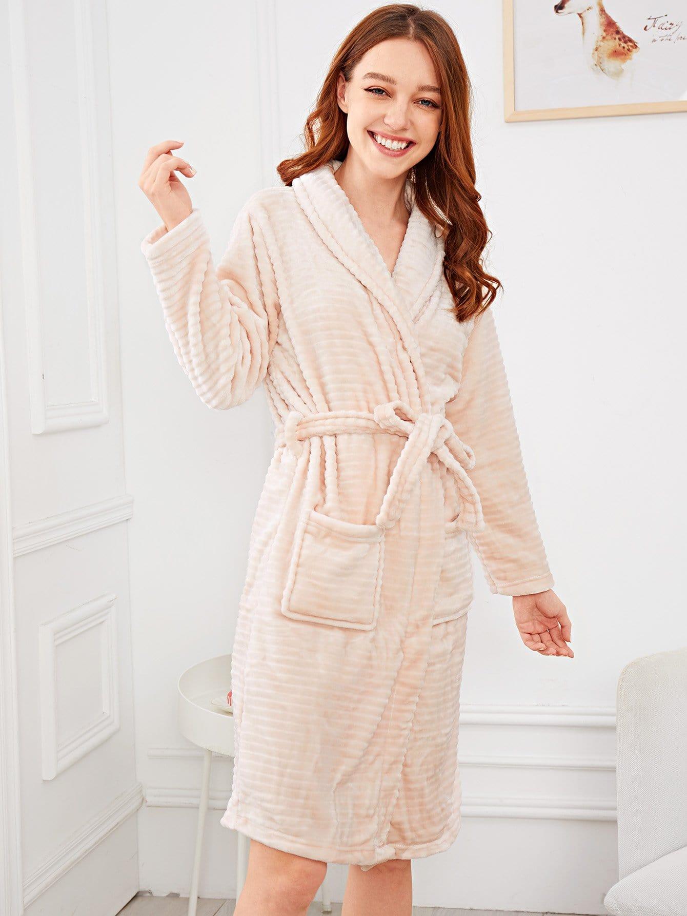 Купить Простой домашний халат с запахом и поясом, Poly, SheIn