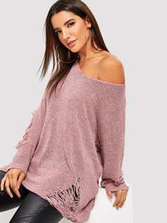 Drop Shoulder Ripped Jumper