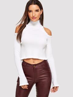 Open Shoulder Frilled Trim Sweater