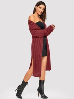 Slit Side Longline Cardigan