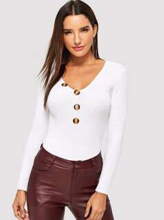 Slim Fitted Button Detail Sweater