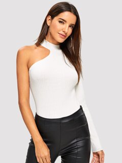 Asymmetrical Sleeve Slim Fitted Sweater