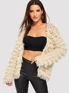 Solid Open Front Teddy Cardigan