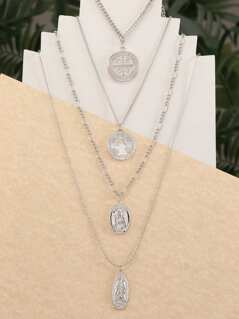 Dainty Layered Religion Pendant And Coin Necklace