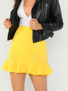 Flounce Hem Solid Skirt