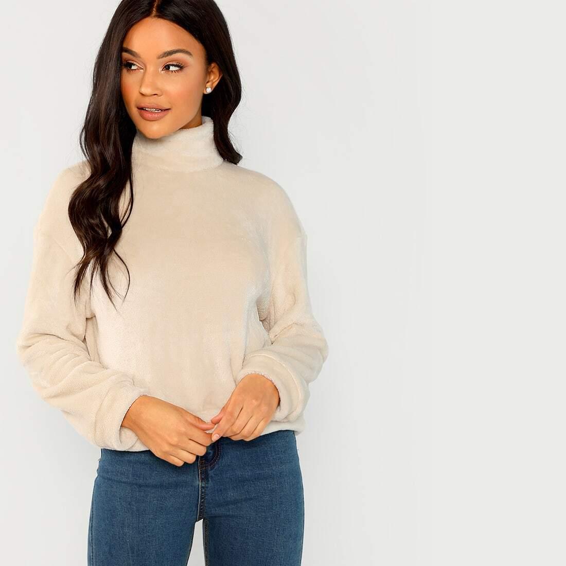 Faux fur sweatshirt met hoge kraag