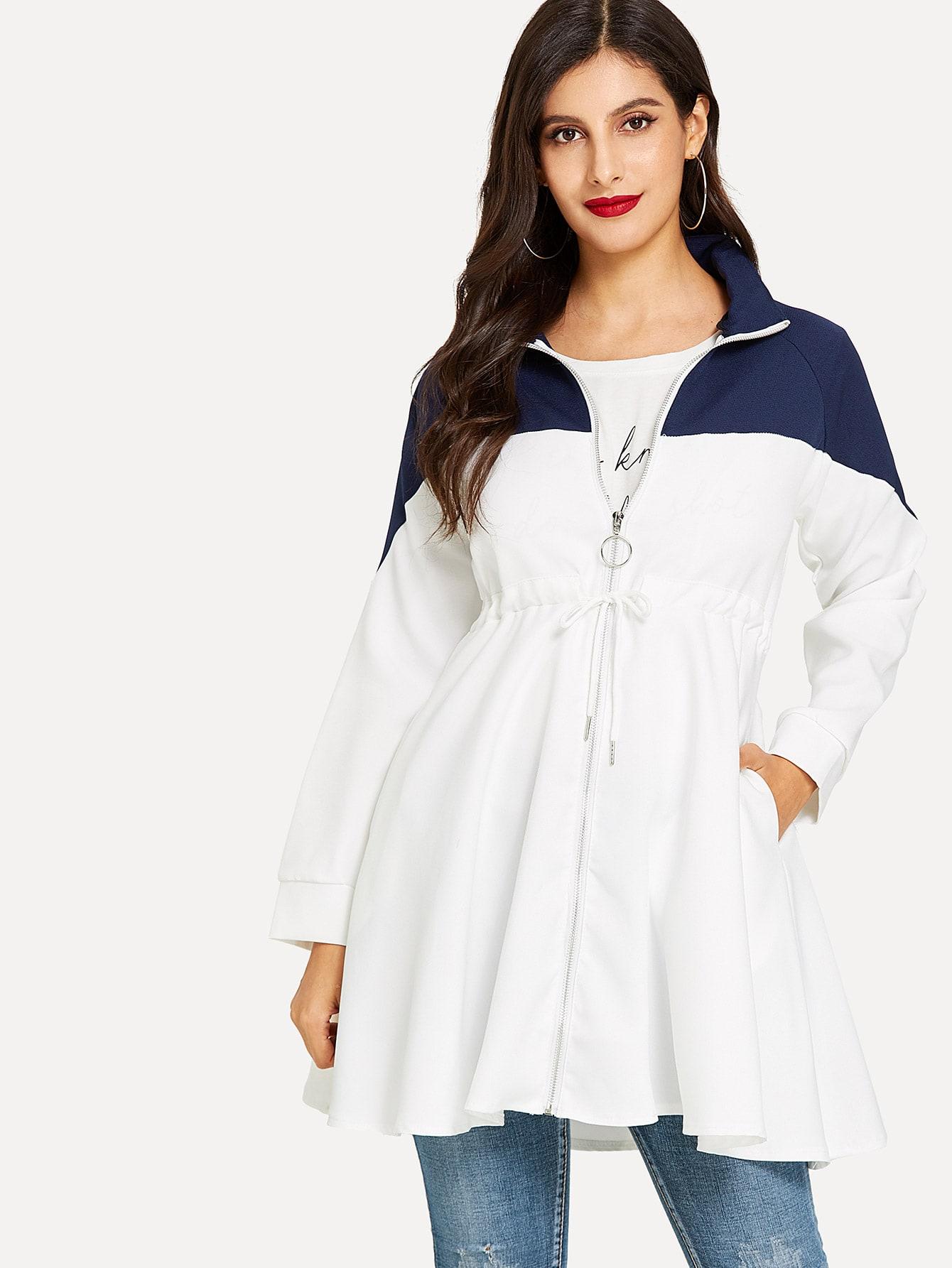 Купить Контрастное пальто с басоном эластичным, Jeane, SheIn