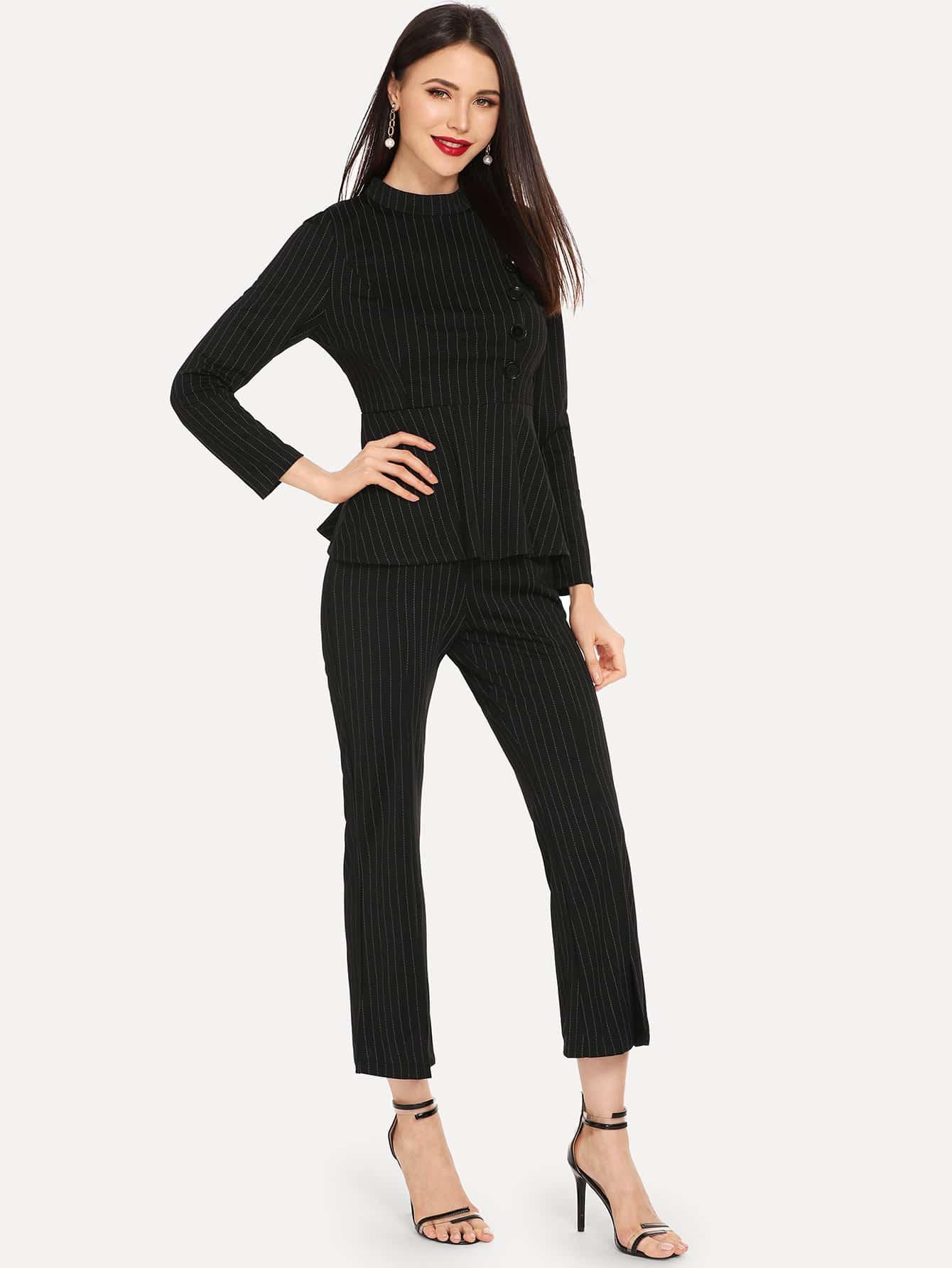 Купить Асимметричная тонкая-полосатая блуза и брюки, Karinab, SheIn