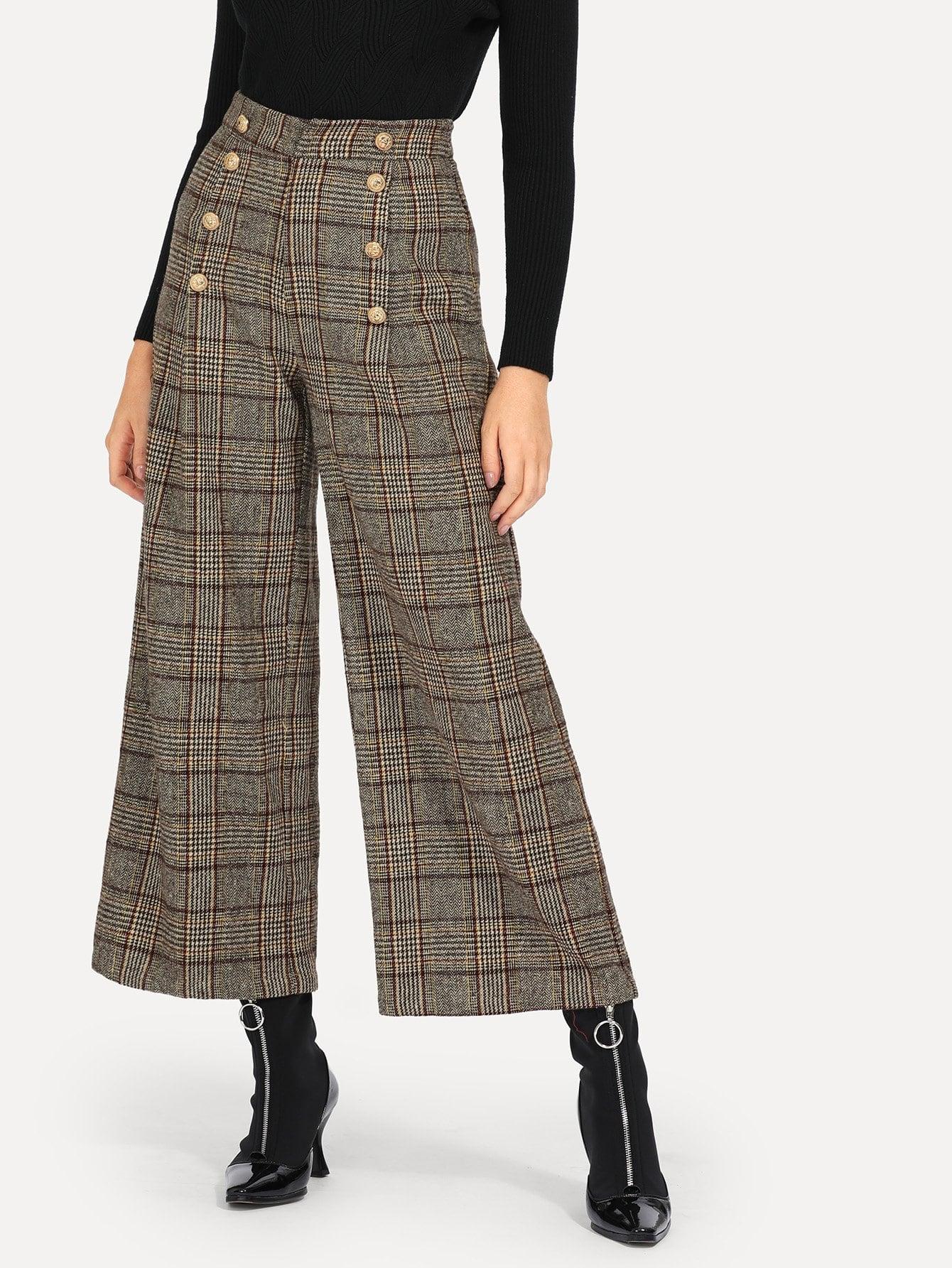 Купить Двубортные Палаццо брюки, Nathane, SheIn