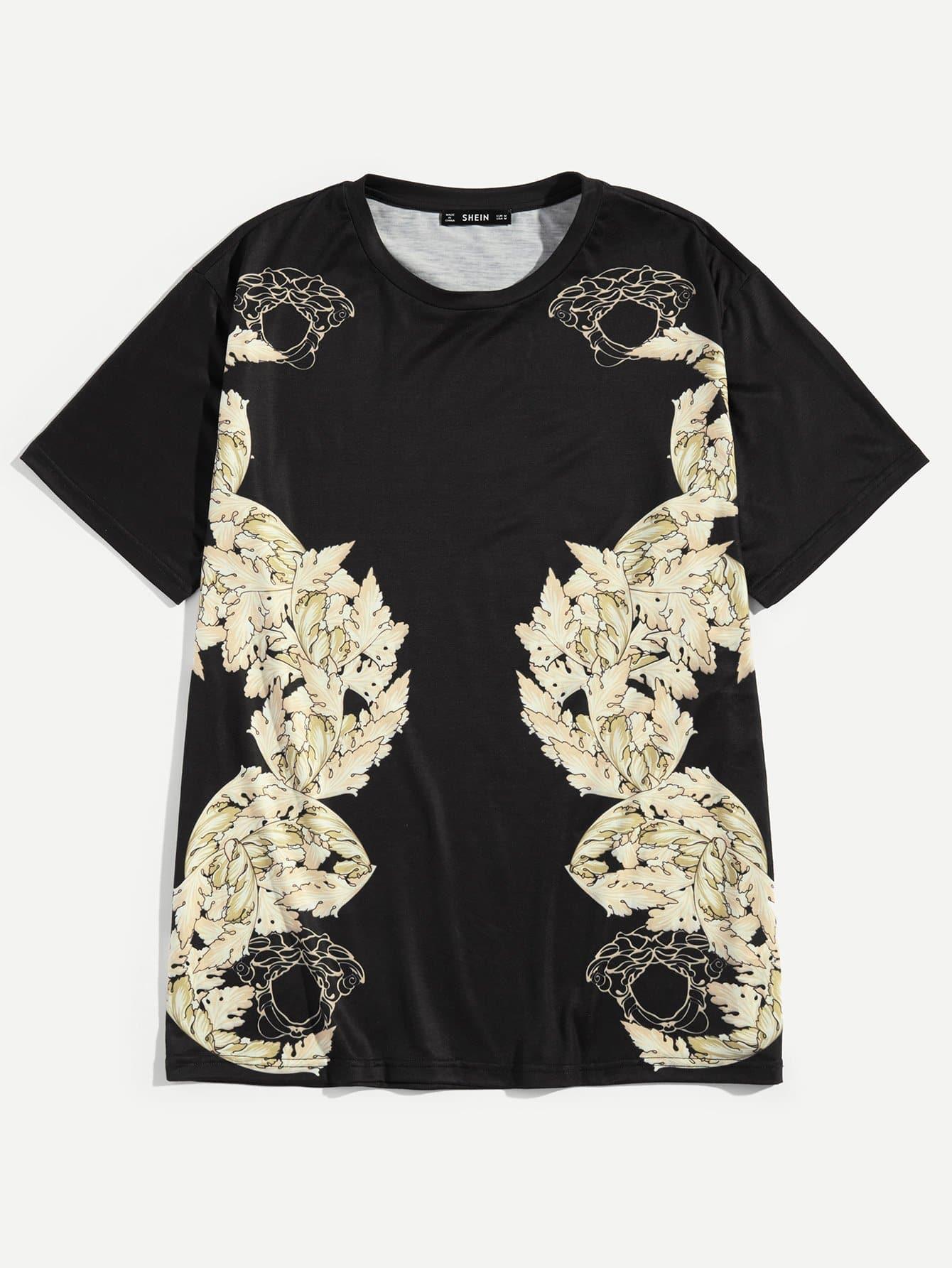 Купить Для мужчин футболка с симметричным принтом, null, SheIn