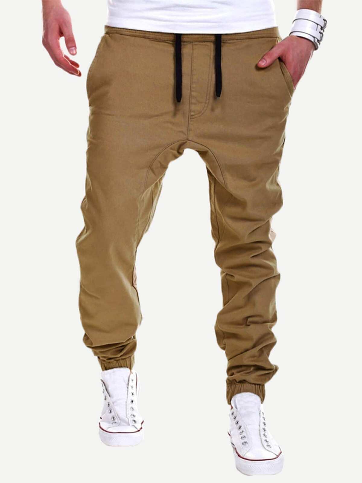 男人 單色 束帶 褲