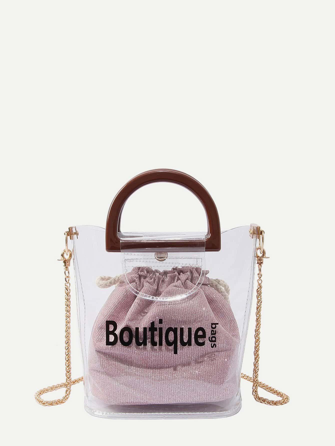 Купить Прозрачная цепная сумка с внутренной блестящей сумкой, null, SheIn