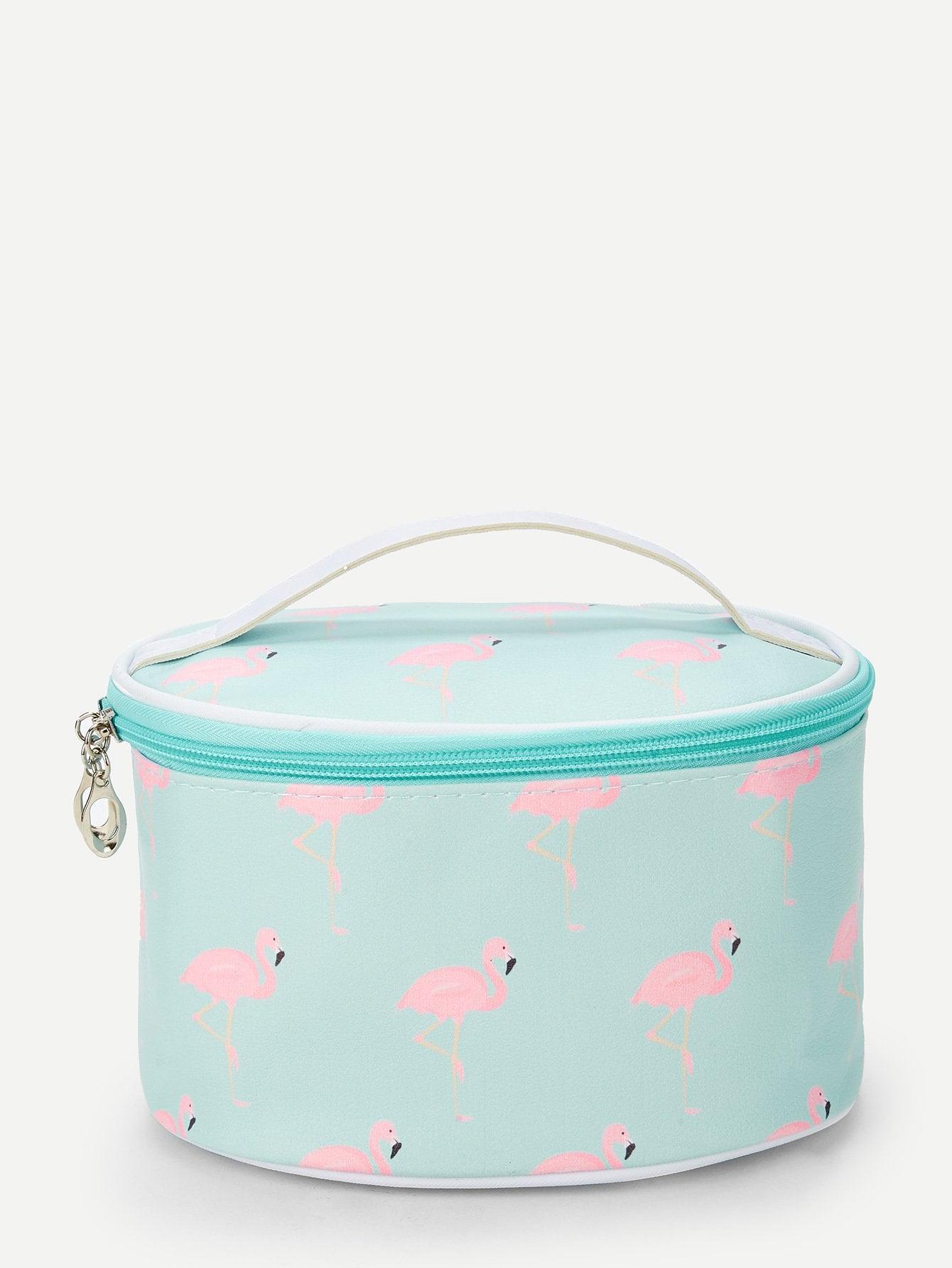 Купить Полосатая косметичка с принтом фламинго, null, SheIn