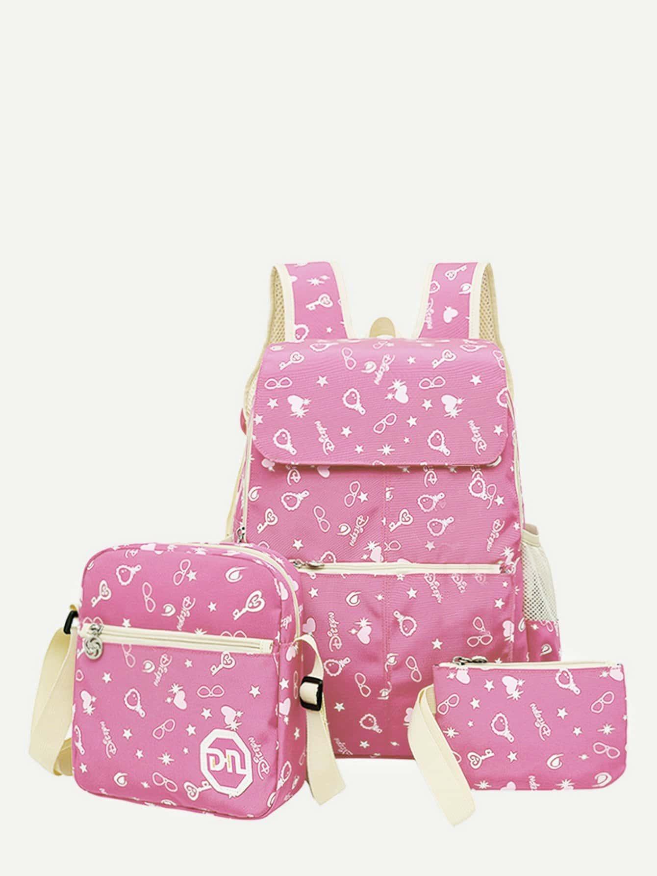 Купить Детский рюкзак с принтом мультфильма 3шт., null, SheIn
