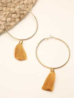 Gold Plated Hoop Earrings with Tassel Detail GOLD