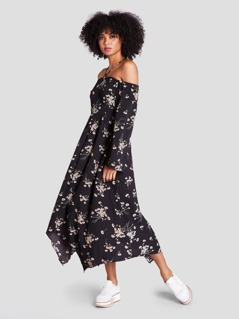 Halter Cold Shoulder Floral Hanky Hem Dress