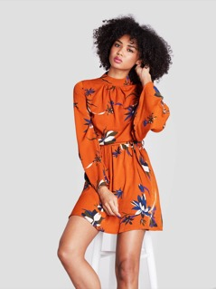 Mock-Neck Botanical Print Self Belted Dress