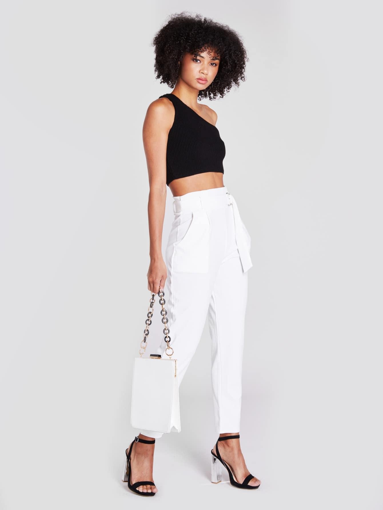 Купить Белый Карман Одноцветный Деловая одежда Брюки, Delicia Jones, SheIn