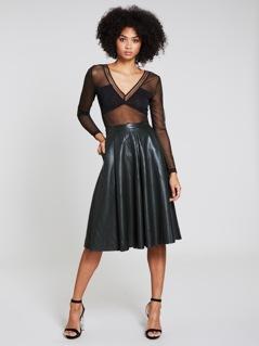 Pocket Side PU Skirt