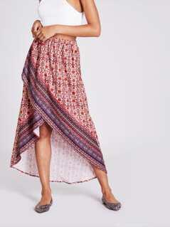 Daisy Print Overlap Hem Skirt