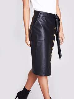 Slant Pocket Buttoned Belted Leather Look Skirt
