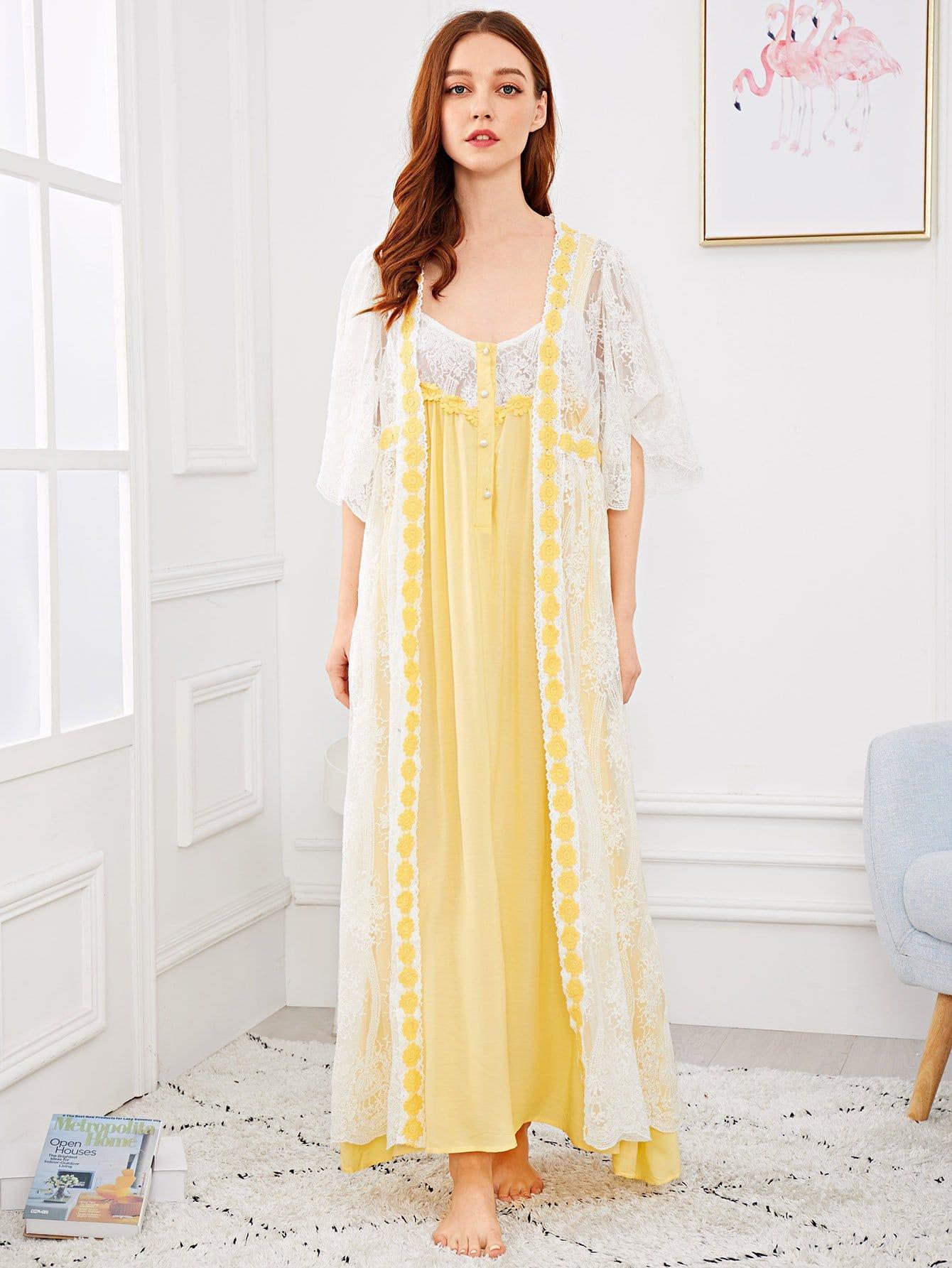 Купить Ночная сорочка с контрастными кружевами и домашний халат, Poly, SheIn