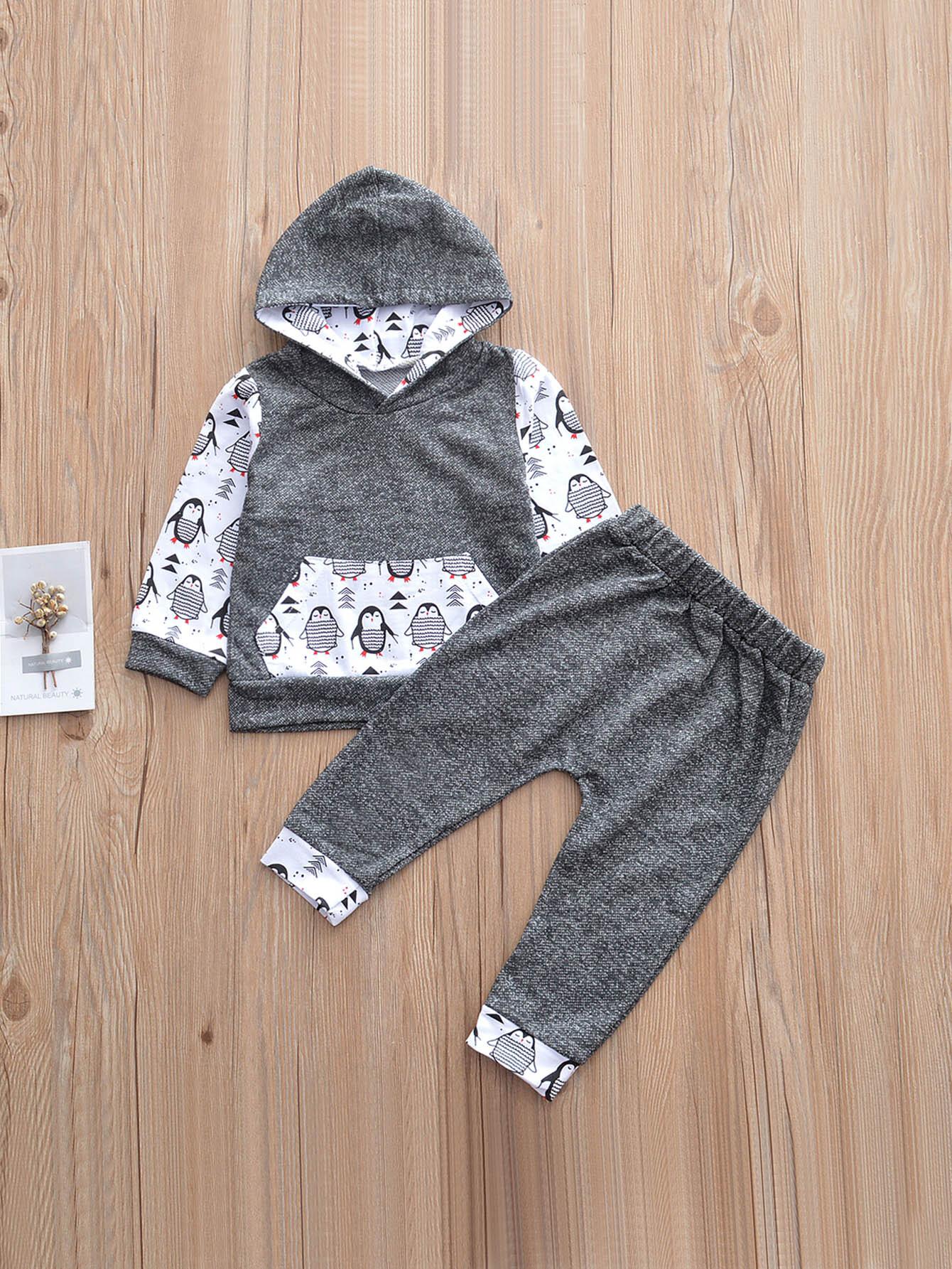 Купить Толстовка с принтом пингвин и брюки для малышских девочек, null, SheIn