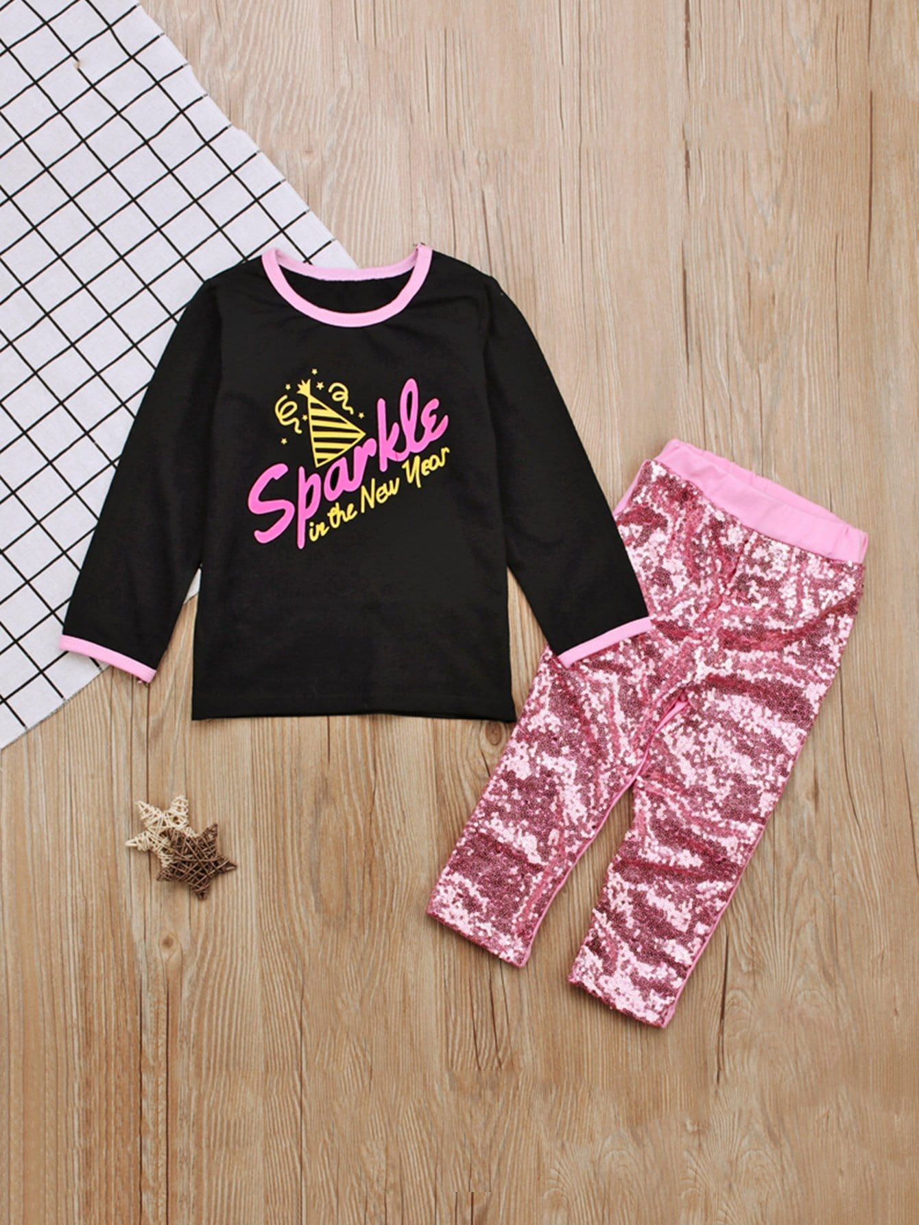 Купить Блуза с принтом букв и брюки с украшением пайетки для малышских девочек, null, SheIn