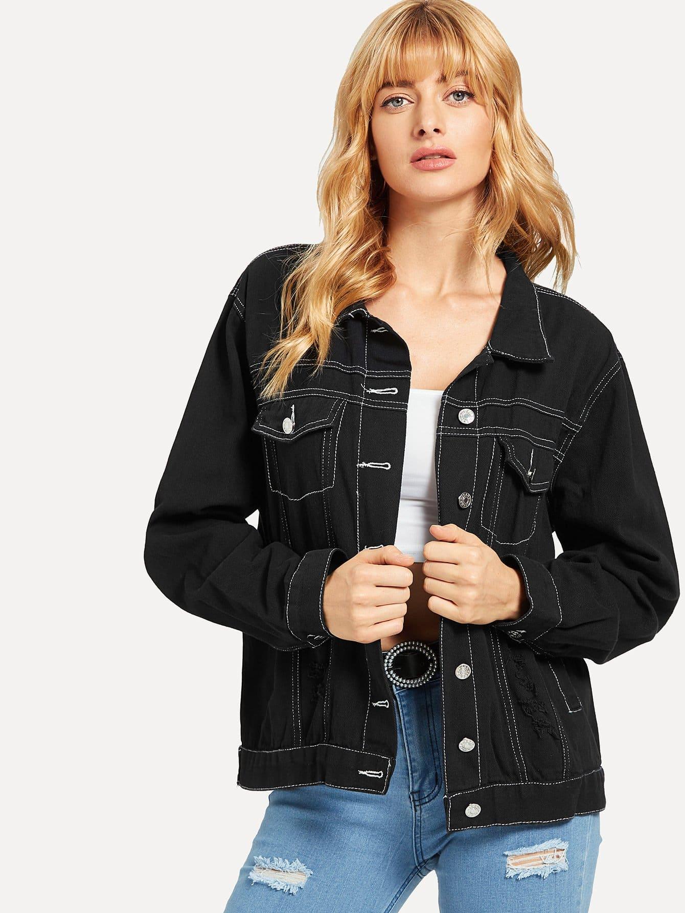 Купить Черный на пуговицах Текст Повседневный Джинсовые куртки, Masha, SheIn