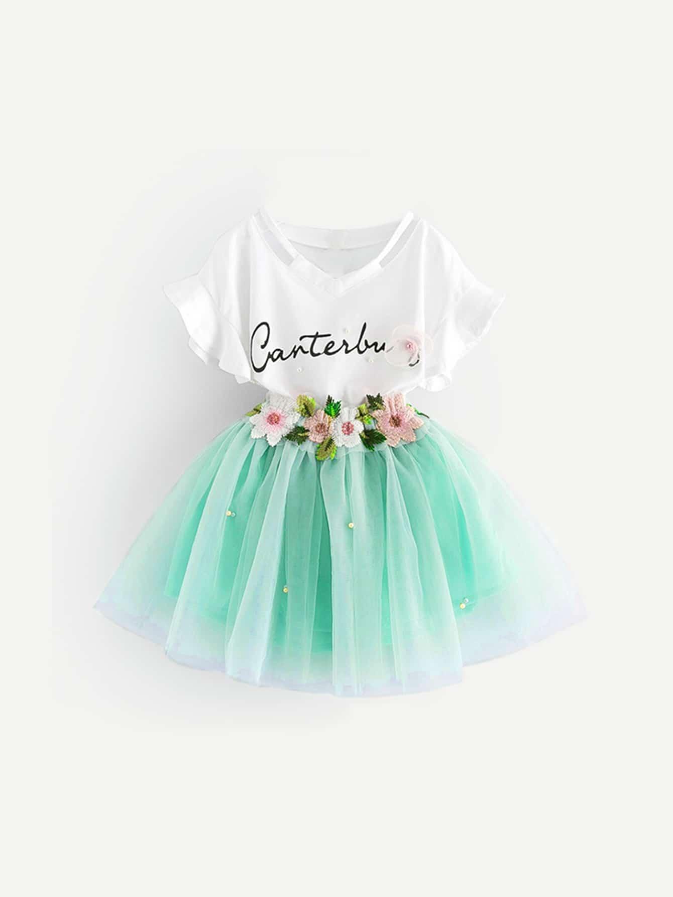 Купить Текст Жемчужина Многоцветный Комплекты одежды для девочек из 2 вещей, null, SheIn
