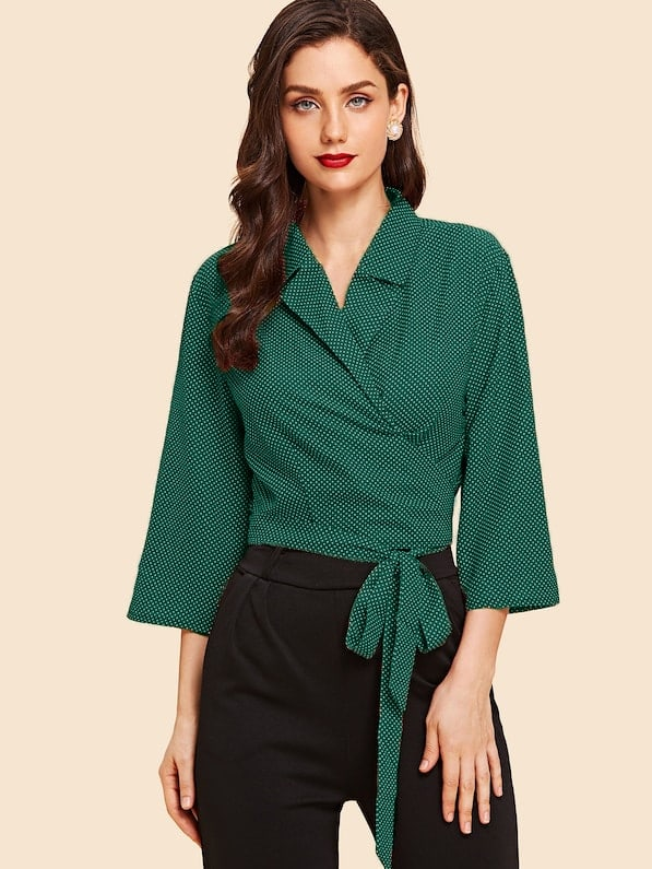 Купить Зеленый с бантом В горошёк Повседневный Блузы+рубашки, Julie H., SheIn