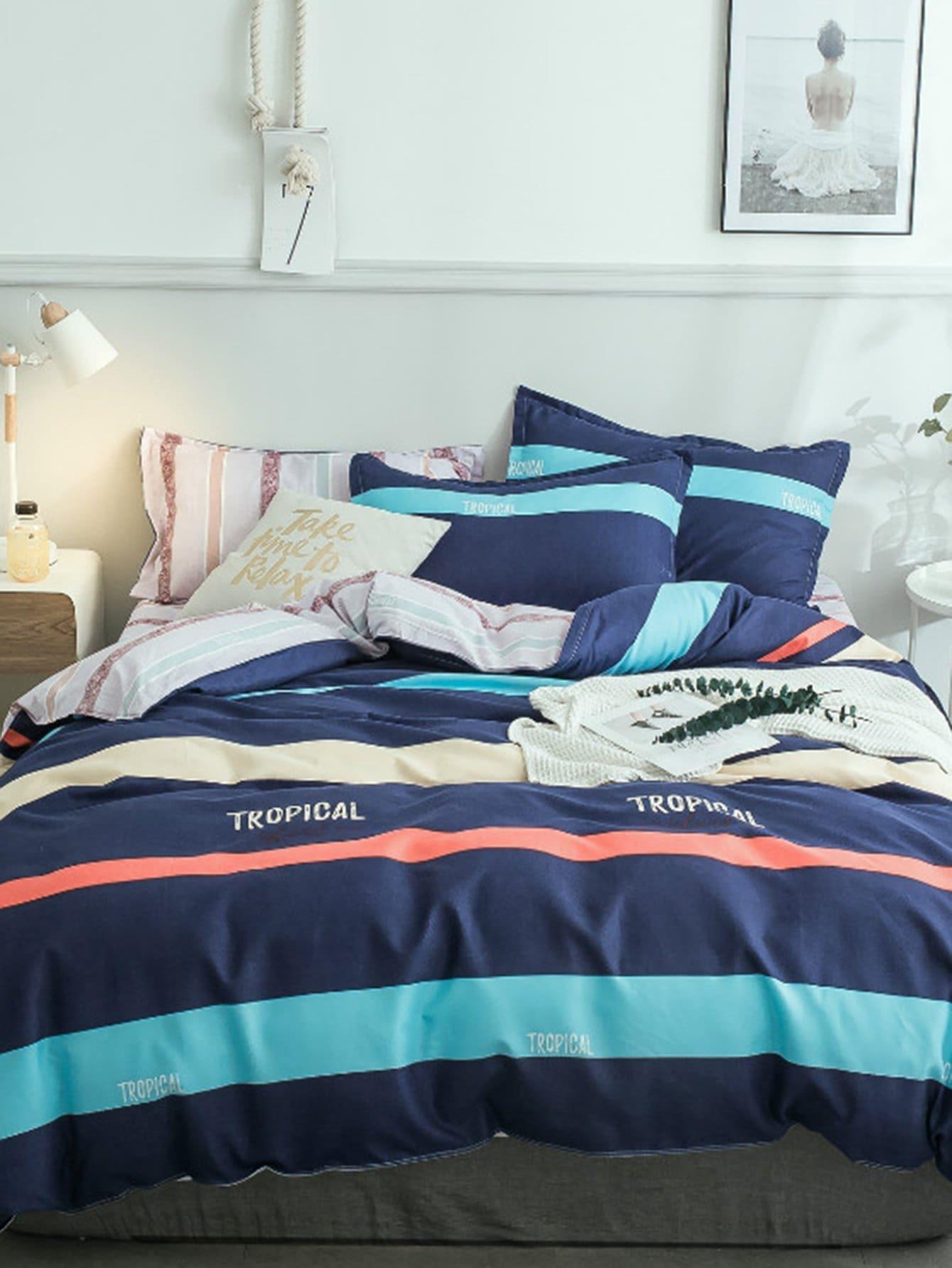 Купить Комплект постельного белья с контрастными полосами, null, SheIn